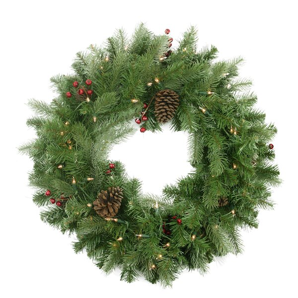 24 Lighted Noble Fir, Berries and Pine Cones Wreath by Northlight Seasonal