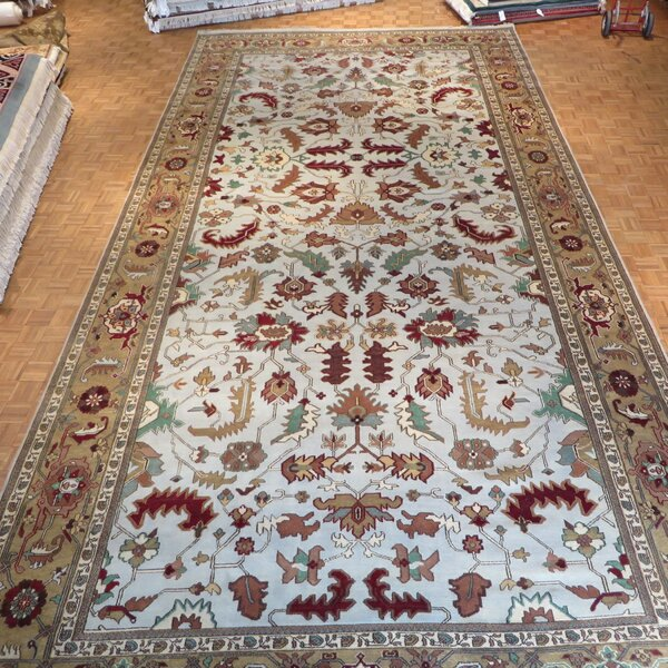 One-of-a-Kind Pellegrino Serapi Heriz Hand-Knotted Wool Sky Blue Area Rug by Bloomsbury Market