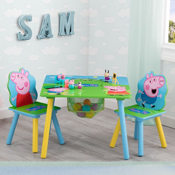 Peppa Pig Kids 3 Piece Square Table and Chair Set by Delta Children
