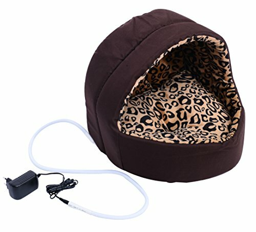 Hooded Indoor Electric Heated Round Dog Pet Bed by Pawhut