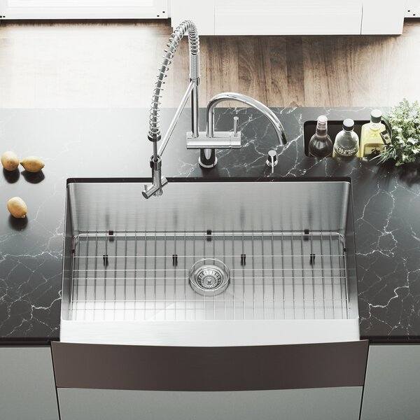 33 inch Farmhouse Apron Single Bowl 16 Gauge Stainless Steel Kitchen Sink with Dresden Chrome Faucet, Grid, Strainer and Soap Dispenser by VIGO