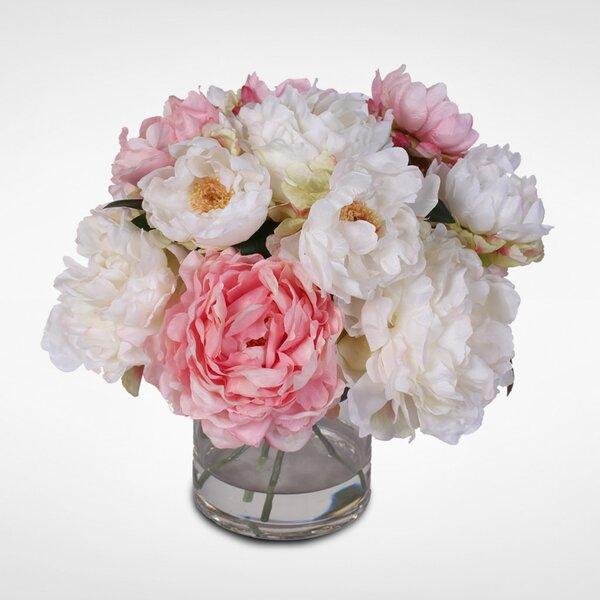 Silk French Peonies Bouquet Floral Arrangement in Vase by Rosdorf Park