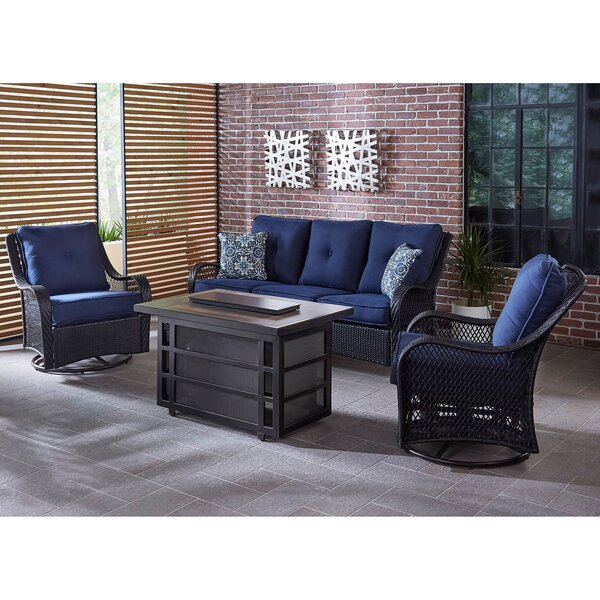 Albertson 4 Piece Seating Group with Cushions by Bay Isle Home
