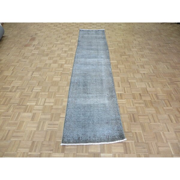 One-of-a-Kind Edinburgh Over-dyed Persian Hand-Knotted Wool Gray Area Rug by World Menagerie
