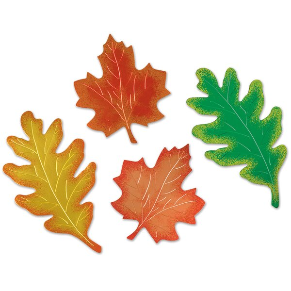 4 Piece Fall/Thanksgiving Pkgd Foil Leaf Silhouette by The Holiday Aisle