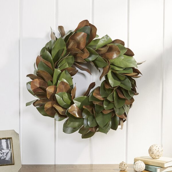Magnolia Leaf 24 Plastic Wreath by Laurel Foundry Modern Farmhouse