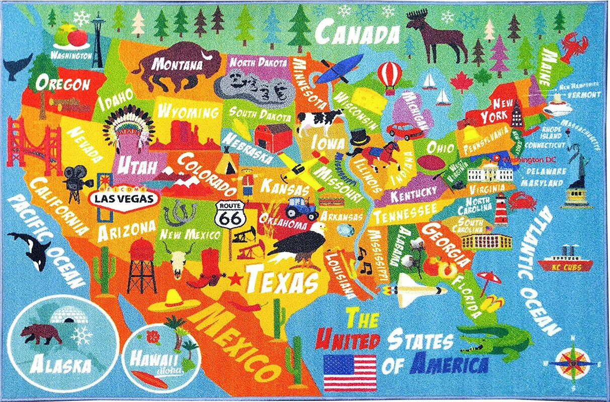 Zoomie Kids Weranna Usa United States Geography Map