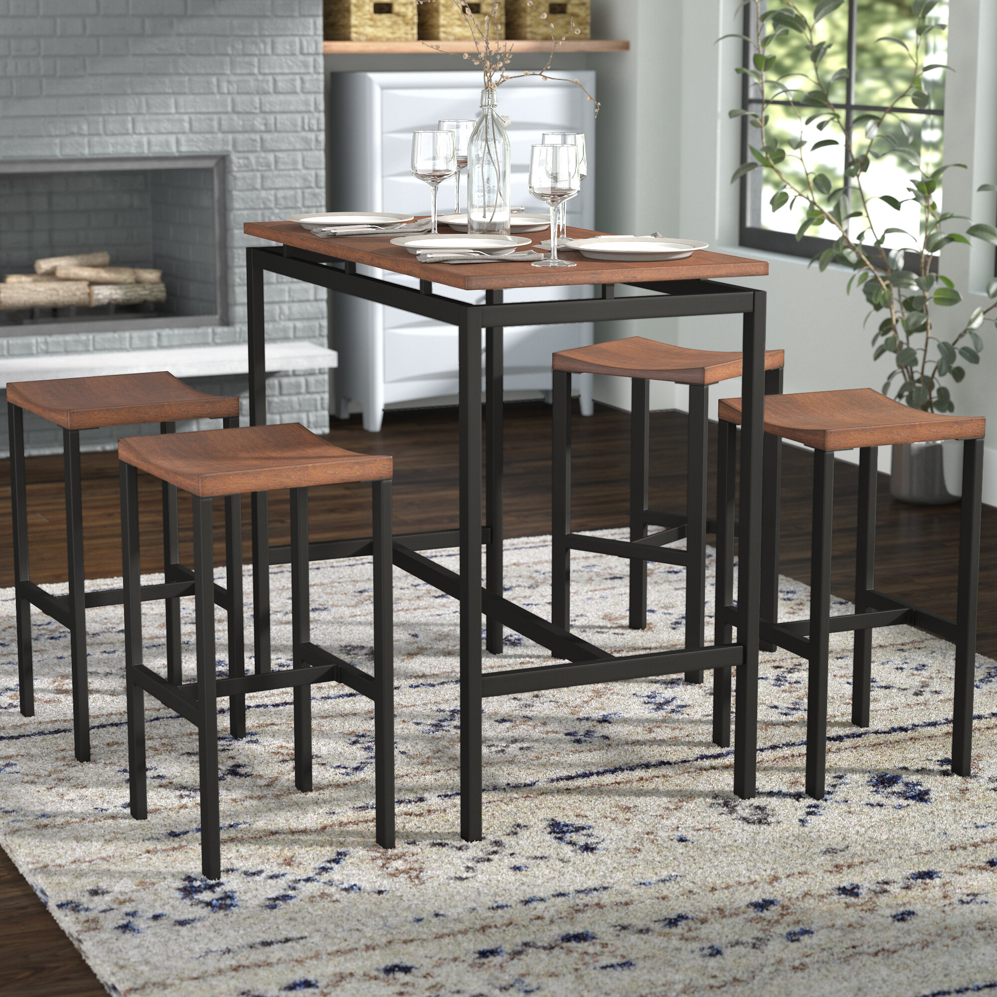 Brayden Studio Swigart 5 Piece Pub Table Set U0026 Reviews | Wayfair