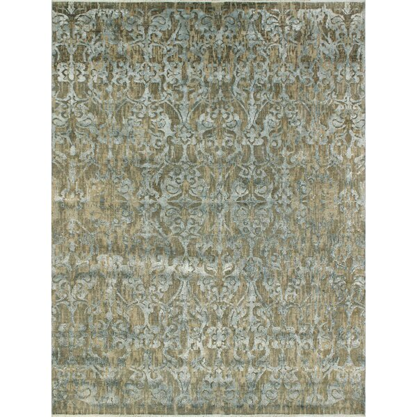 Stevan Hand-Knotted Wool Gray/Blue Area Rug by Bloomsbury Market
