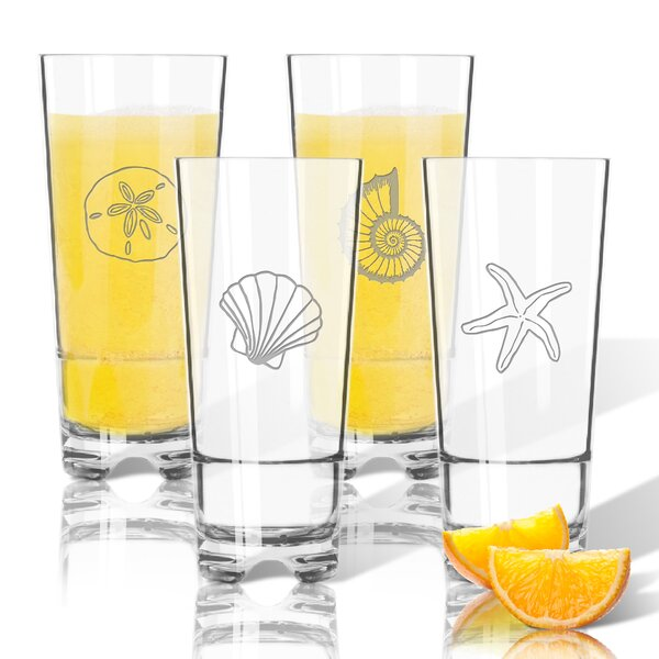 4 Piece Shell Tritan 16 oz. High Ball Glass by Carved Solutions