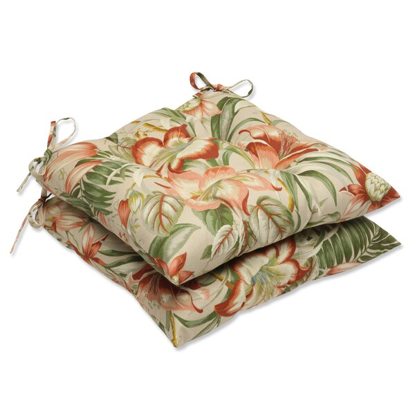 Botanical Glow Indoor/Outdoor Dining Chair Cushion (Set of 2) by Pillow Perfect