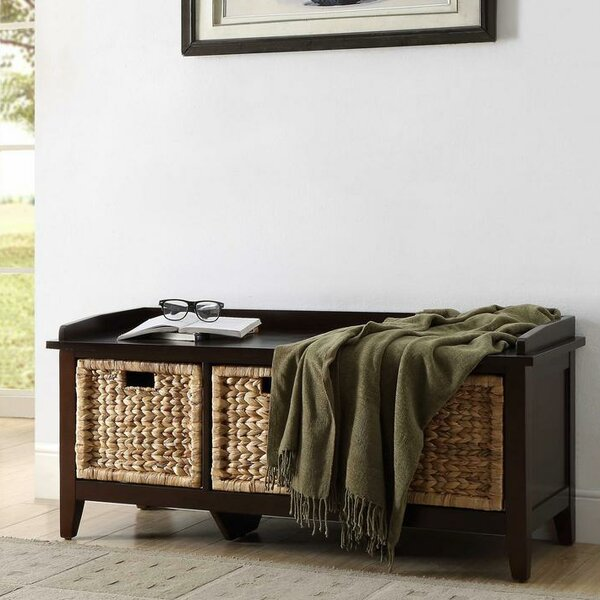 Brekke Wood Storage Bench by Longshore Tides