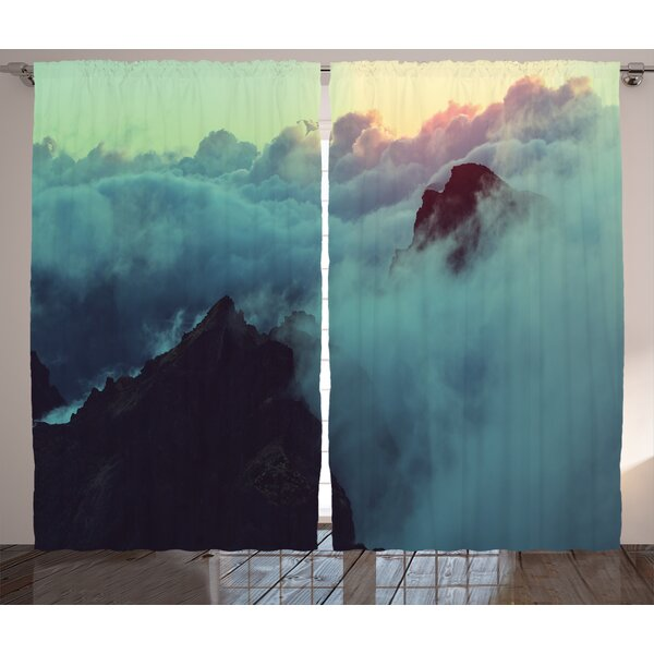 Leisha Hills Graphic Print & Text Semi-Sheer Rod Pocket Curtain Panels (Set of 2) by Latitude Run