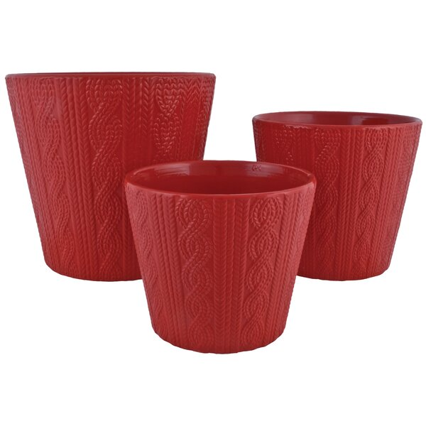 Campfield Knit 3-Piece Pot Planter Set by Charlton Home