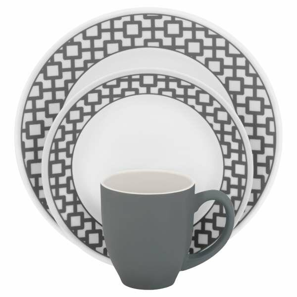 Impressions Urban Grid 16 Piece Dinnerware Set, Service for 4 by Corelle