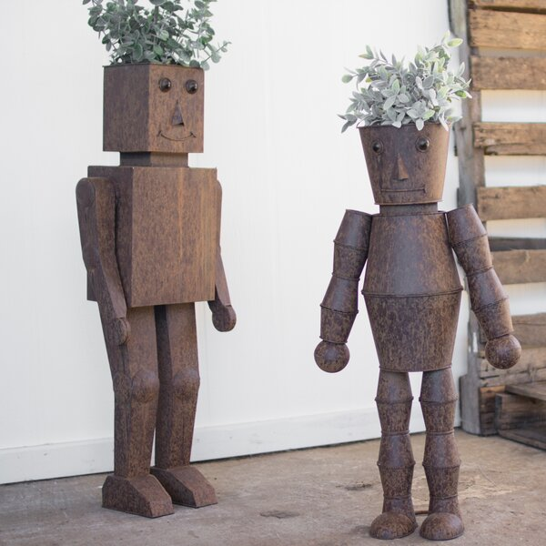 Hardy Robot 2 Piece Metal Statue Planter Set by August Grove