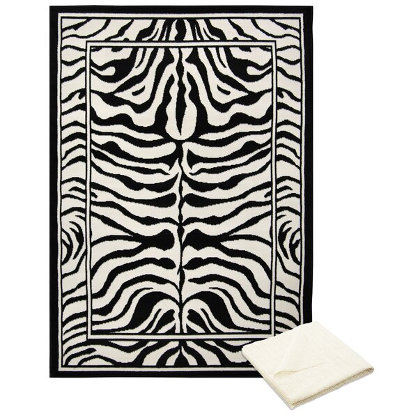 Barlow Black/White Area Rug with Rug Pad by Bloomsbury Market