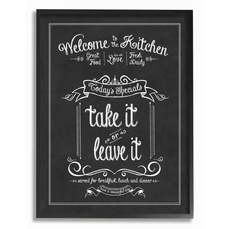 'Welcome To The Kitchen Chalkboard' - Textual Art Print on Canvas