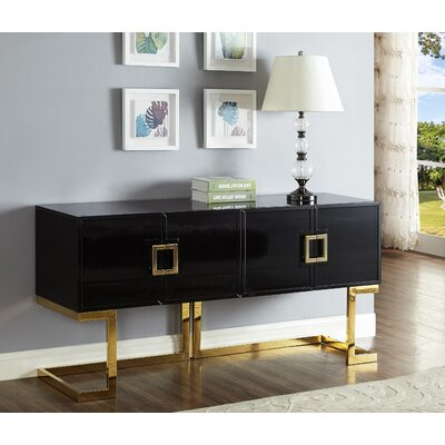"""AllModern Alexei 64"""" Wide 4 Drawer Console Table  Color (Base/Top): Gold/Black"""