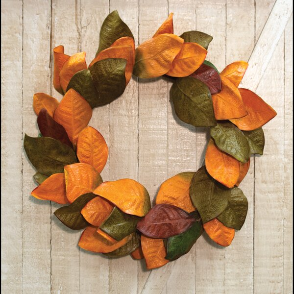 22 Magnolia Leaves Wreath by Gracie Oaks