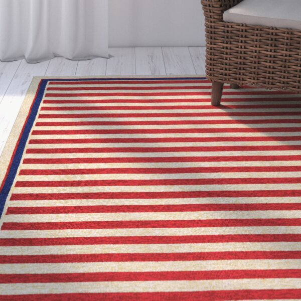 Montery Hand-Woven Red/Yellow Indoor/Outdoor Area Rug by Beachcrest Home