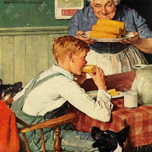 'And Then Ma, or Grandma Brought 'Em In' by Norman Rockwell Painting Print on Wrapped Canvas by East Urban Home