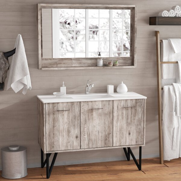 Ellison Nature Wood 47 Single Bathroom Vanity Set with Mirror by Union Rustic