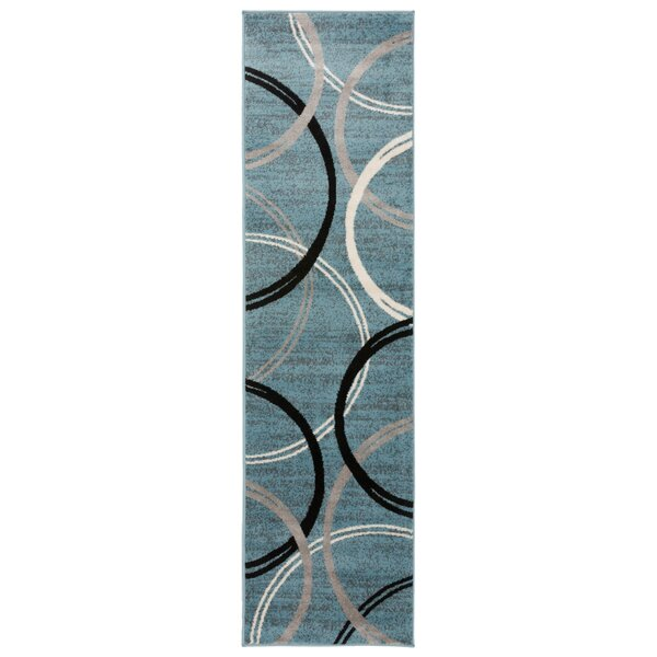 Neal Contemporary Abstract Circles Design Blue Area Rug by Ebern Designs