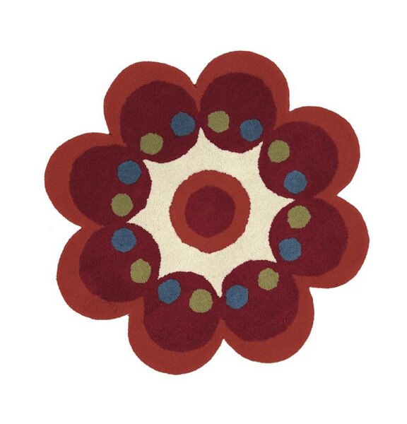 Fantasia Hand-Tufted Wool Red Flower Area Rug by Dynamic Rugs