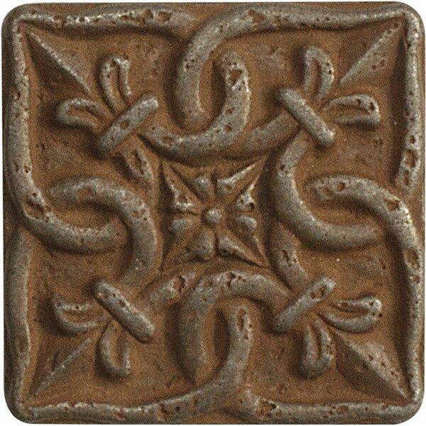 1 x 1 Renaissance Deco Accent Tile in Rust by Parvatile