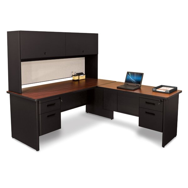 Pronto Lock and Drawers L-Shape Executive Desk with Hutch by Marvel Office Furniture