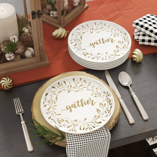 Smythe Gather Garland 8.5 Melamine Dessert Plate (Set of 12) by Gracie Oaks
