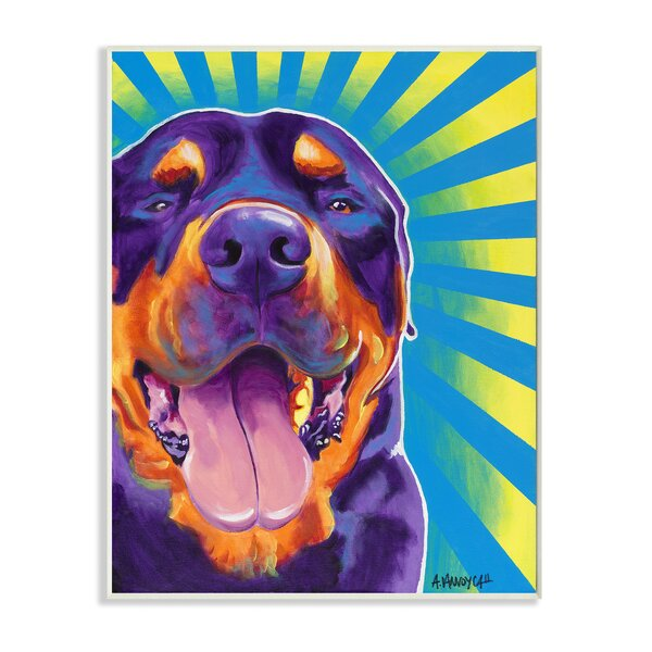Rottweiler on Bright Colors Graphic Art Wall Plaque by Stupell Industries