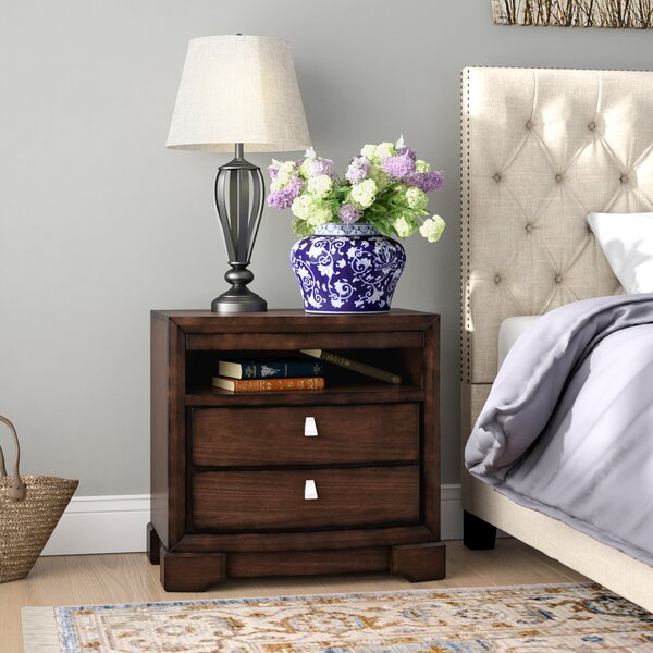 Akins 2 Drawer Nightstand with Pull Out Tray by Three Posts