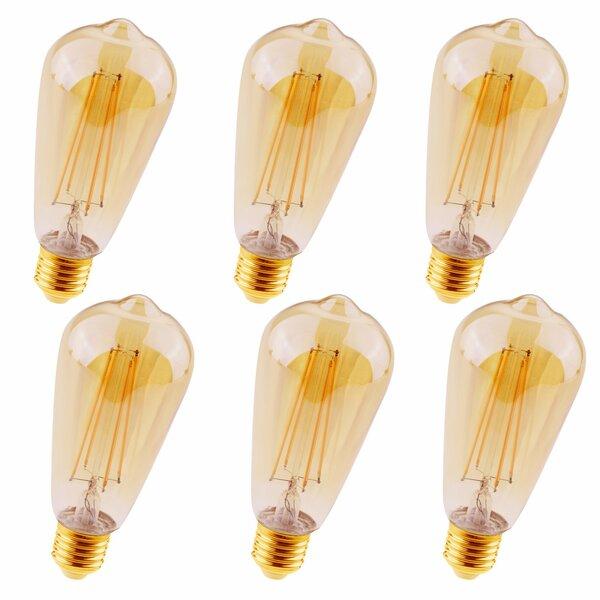 4W Medium E26 LED Vintage Filament Light Bulb (Set of 6) by Elegant Lighting