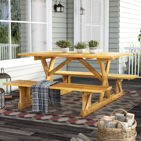 Macdonald Solid Wood Picnic Table by Loon Peak Loon Peak