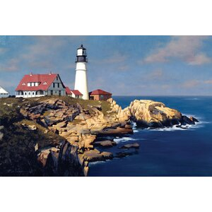 Coastal Lighthouse Photographic Print on Wrapped Canvas by East Urban Home