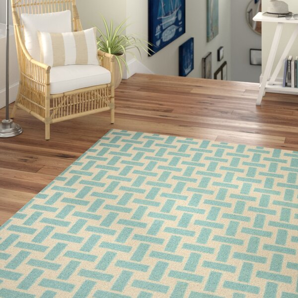 Masaryktown Hand-Woven Wool Turquoise/Ivory Area Rug by Beachcrest Home