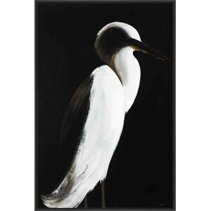 White Heron Framed Painting Print on Canvas by PTM Images