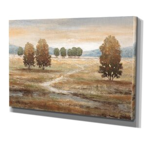 Linen Landscape by Nan Painting Print on Wrapped Canvas by Wexford Home