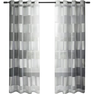 Britain Striped Sheer Grommet Curtain Panels (Set of 2)