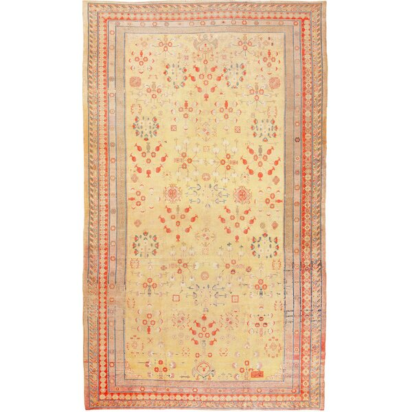 One-of-a-Kind Khotan Hand-Knotted Yellow 11'3 x 19'6 Wool Area Rug