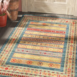 One-of-a-Kind Foret Noire Machine Woven Polypropylene Blue Area Rug