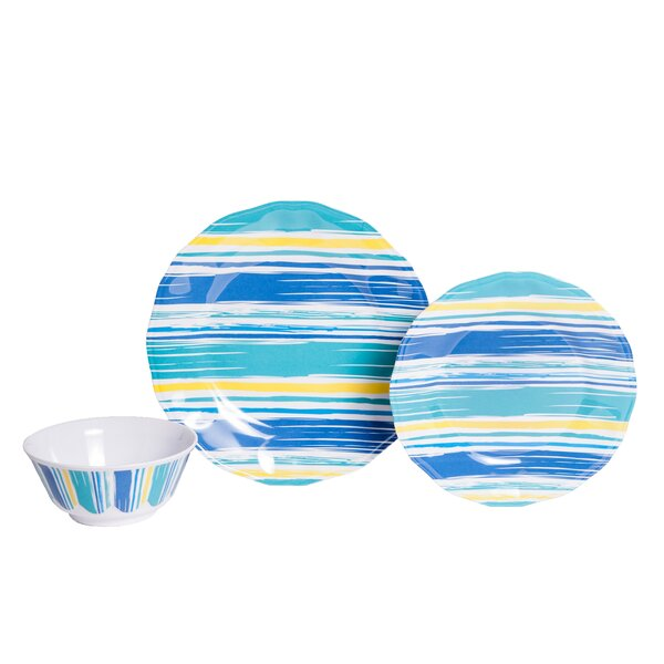 Whitson By The Sea Melamine 18 Piece Dinnerware Set, Service for 6 by Rosecliff Heights
