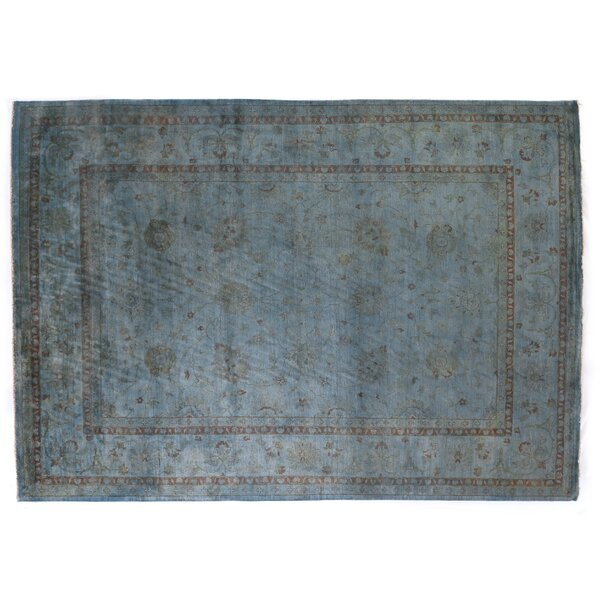 Overdyed Hand-Knotted Wool Blue/Brown Area Rug by Exquisite Rugs