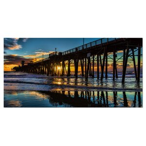 'Oceanside Pier at Evening' Photographic Print on Wrapped Canvas by Design Art