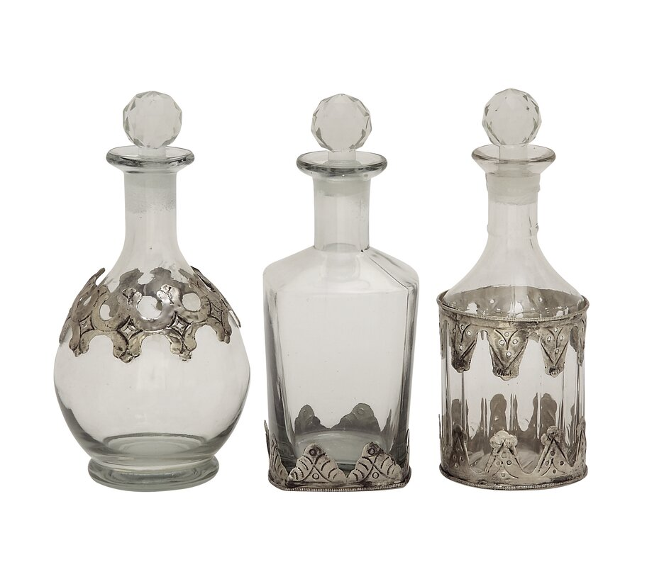 Cole grey 3 piece glass metal stopper decorative bottle for Decor containers coles