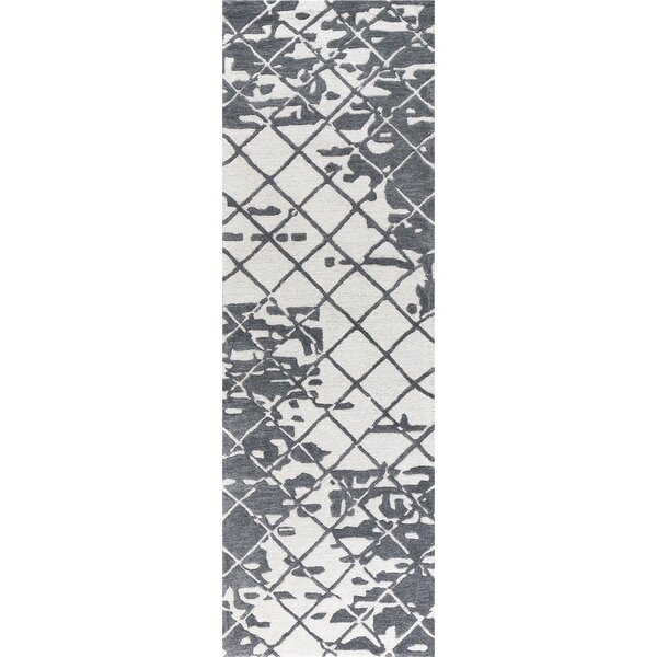Lovelace Hand-Woven Wool Dark Gray Area Rug by Ivy Bronx