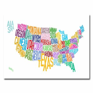 'United States Text Map' by Michael Thompsett Graphic Art on Canvas by Trademark Fine Art