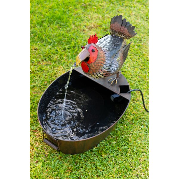 Metal Rooster Fountain by Alpine